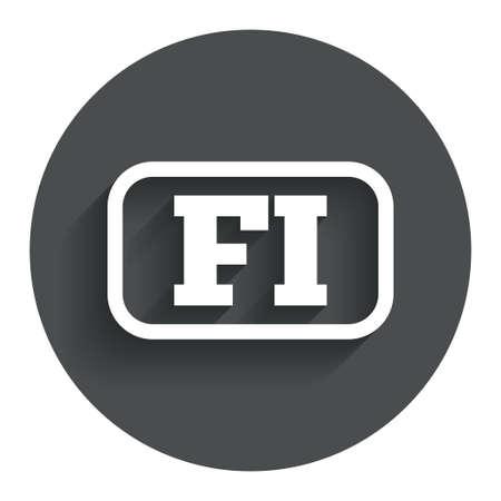 핀란드의: 핀란드어 언어 기호 아이콘입니다. 프레임 FI 핀란드 번역 상징입니다. 그림자와 원형 평면 버튼을 누릅니다. 현대 UI의 웹 사이트 탐색. 벡터