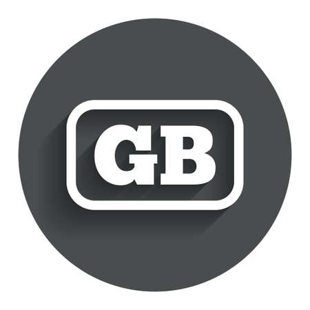 gb: British language sign icon. GB Great Britain translation symbol with frame. Circle flat button with shadow. Modern UI website navigation. Vector