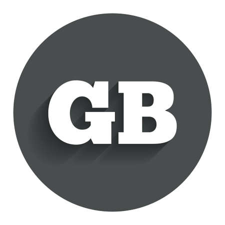 British language sign icon. GB Great Britain translation symbol. Circle flat button with shadow. Modern UI website navigation. Vector