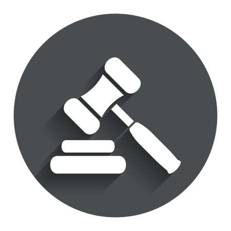 auction gavel: Auction hammer icon. Law judge gavel symbol. Circle flat button with shadow. Modern UI website navigation. Vector