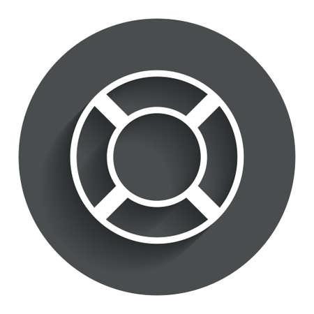 salvation: Lifebuoy sign icon. Life salvation symbol. Circle flat button with shadow. Modern UI website navigation. Vector Illustration