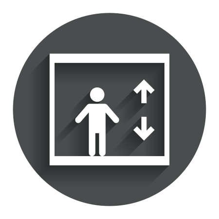 Elevator sign icon. Person symbol with up and down arrows. Circle flat button with shadow. Modern UI website navigation. Vector Illustration