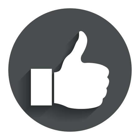Like sign icon. Thumb up sign. Hand finger up symbol. Circle flat button with shadow. Modern UI website navigation. Vector Vector