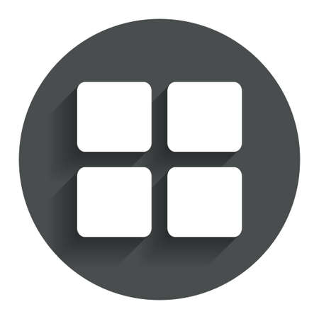 Thumbnails sign icon. Gallery view option symbol. Circle flat button with shadow. Modern UI website navigation. Vector Иллюстрация
