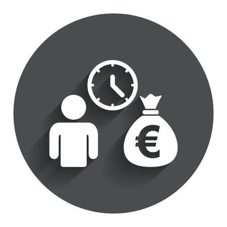 borrow: Bank loans sign icon. Get money fast symbol. Borrow money. Circle flat button with shadow. Modern UI website navigation. Vector