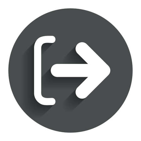 sign out: Logout sign icon. Sign out symbol. Arrow icon. Circle flat button with shadow. Modern UI website navigation. Vector