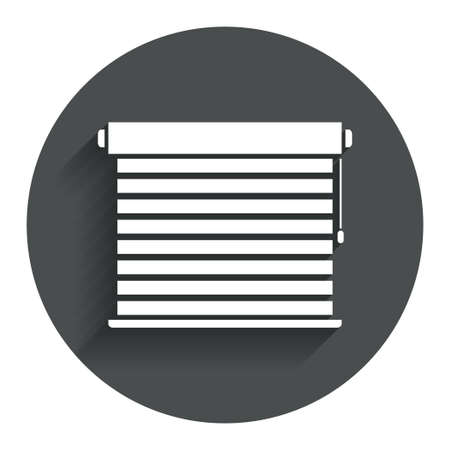 jalousie: Louvers sign icon. Window blinds or jalousie symbol. Circle flat button with shadow. Modern UI website navigation. Vector