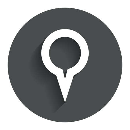 Map pointer sign icon. Location marker symbol. Circle flat button with shadow. Modern UI website navigation. Vector Vector