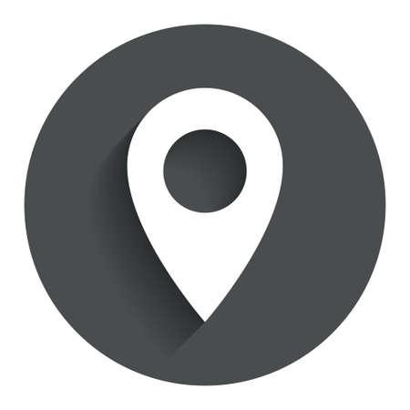 マップ ポインターのアイコン。GPS の場所の記号です。影を持つサークル フラット ボタン。モダン UI web サイト ・ ナビゲーション。ベクトル