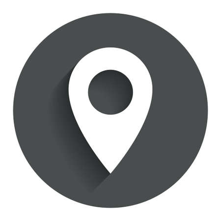 Map pointer icon. GPS location symbol. Circle flat button with shadow. Modern UI website navigation. Vector Stock Illustratie