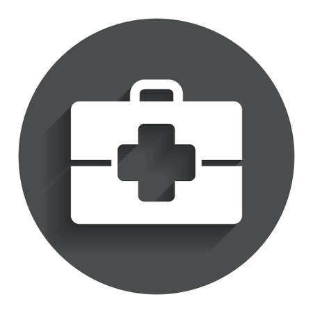 doctor symbol: Medical case sign icon. Doctor symbol. Circle flat button with shadow. Modern UI website navigation. Vector