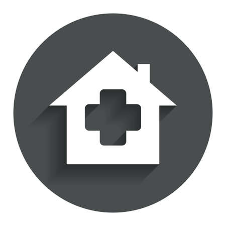 Medical hospital sign icon. Home medicine symbol. Circle flat button with shadow. Modern UI website navigation. Vector Illustration