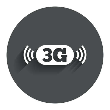 3g: Icono de se�al 3G. Telecomunicaciones m�viles s�mbolo tecnolog�a. C�rculo de bot�n plano con la sombra. Modern sitio web de interfaz de usuario de navegaci�n. Vector Vectores