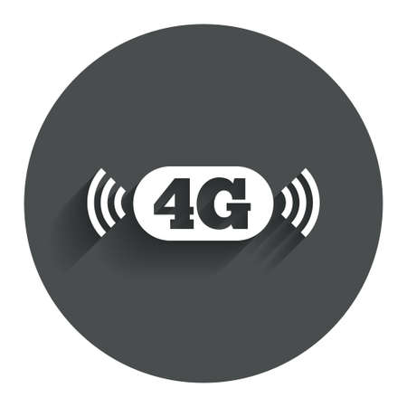 telecommunications technology: 4G sign icon. Mobile telecommunications technology symbol. Circle flat button with shadow. Modern UI website navigation. Vector Illustration