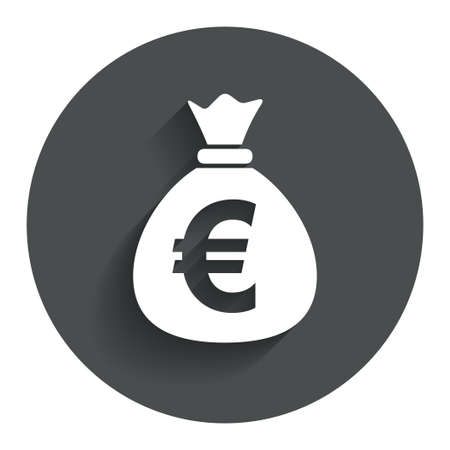 eur: Money bag sign icon. Euro EUR currency symbol. Circle flat button with shadow. Modern UI website navigation. Vector Illustration