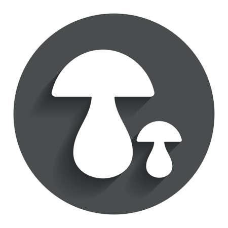 button mushroom: Mushroom sign icon. Boletus mushroom symbol. Circle flat button with shadow. Modern UI website navigation. Vector