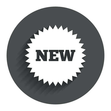 New sign icon. New arrival star symbol. Circle flat button with shadow. Modern UI website navigation. Vector