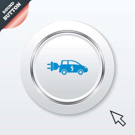 electric vehicle: Auto elettrica icona segno. Simbolo Hatchback. Trasporto del veicolo elettrico. Tasto bianco con riga metallica. Pulsante moderno sito UI con il puntatore del cursore del mouse. Vettore Vettoriali