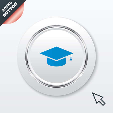higher quality: Graduation cap sign icon. Higher education symbol. White button with metallic line. Modern UI website button with mouse cursor pointer. Vector