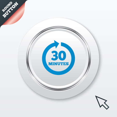 Every 30 minutes sign icon. Full rotation arrow symbol. White button with metallic line. Modern UI website button with mouse cursor pointer. Vector Vector