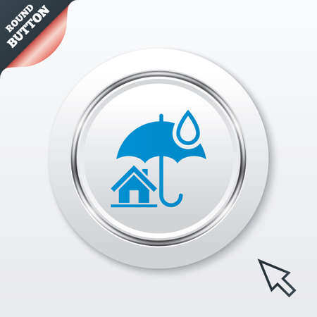 belay: Home insurance sign icon. Real estate insurance symbol. White button with metallic line. Modern UI website button with mouse cursor pointer.