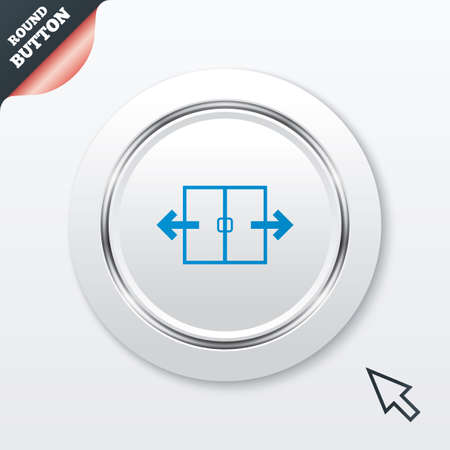 door sign: Automatic door sign icon. Auto open symbol. White button with metallic line. Modern UI website button with mouse cursor pointer. Illustration