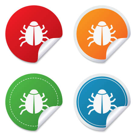 acarus: Bug sign icon. Virus symbol. Software bug error. Disinfection. Round stickers. Circle labels with shadows. Curved corner.