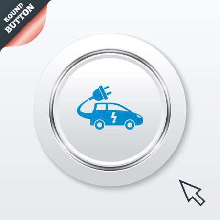 electric vehicle: Elettrico icona segno dell'automobile. Simbolo Hatchback. Trasporto di veicoli elettrici. Tasto bianco con riga metallica. Pulsante moderno sito web UI con il puntatore del cursore del mouse.