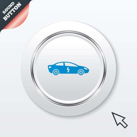 electric vehicle: Auto elettrica icona segno. Sedan simbolo berlina. Trasporto del veicolo elettrico. Tasto bianco con riga metallica. Pulsante moderno sito UI con il puntatore del cursore del mouse.