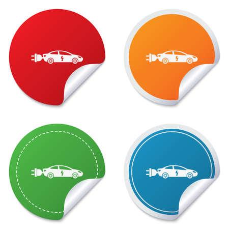 electric vehicle: Elettrico icona segno dell'automobile. Sedan simbolo saloon. Trasporto di veicoli elettrici. Adesivi rotondi. Circle etichette con le ombre. Angolo curvo.