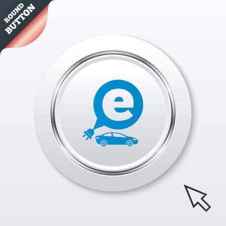 electric vehicle: Elettrico icona segno dell'automobile. Sedan simbolo saloon. Trasporto di veicoli elettrici. Tasto bianco con riga metallica. Pulsante moderno sito web UI con il puntatore del cursore del mouse. Vettoriali