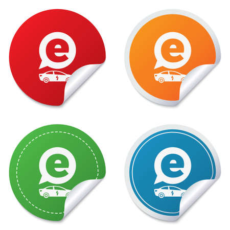 electric vehicle: Electric car sign icon. Sedan saloon symbol. Electric vehicle transport. Round stickers. Circle labels with shadows. Curved corner.  Vettoriali