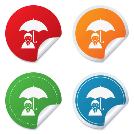 Human insurance sign icon. Man Person symbol. Round stickers. Circle labels with shadows. Curved corner.  Vector