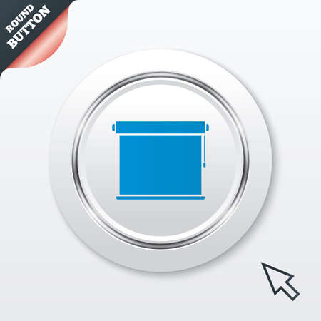 roll curtains: Louvers rolls sign icon. Window blinds or jalousie symbol. White button with metallic line. Modern UI website button with mouse cursor pointer.