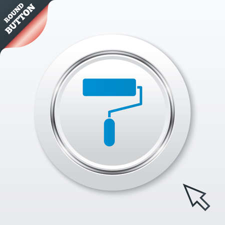 Paint roller sign icon. Painting tool symbol. White button with metallic line. Modern UI website button with mouse cursor pointer. Illustration