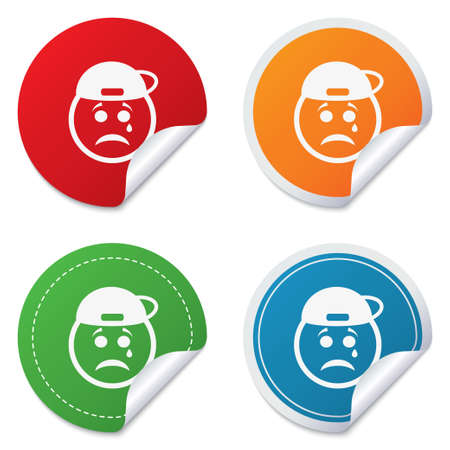 Sad rapper face with tear sign icon. Crying chat symbol. Round stickers. Circle labels with shadows. Curved corner.  Illustration