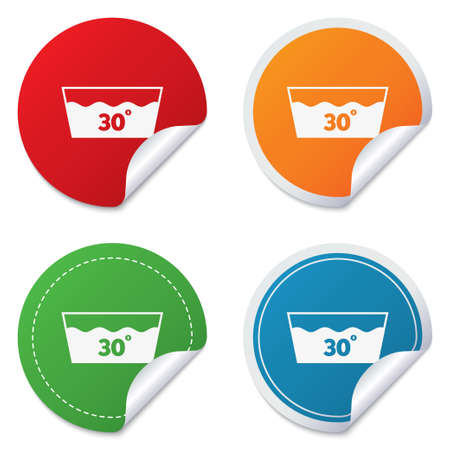washbowl: Wash icon. Machine washable at 30 degrees symbol. Round stickers. Circle labels with shadows. Curved corner.