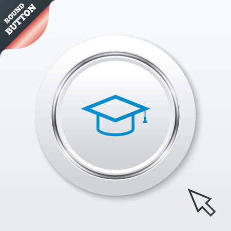 higher quality: Graduation cap sign icon. Higher education symbol. White button with metallic line. Modern UI website button with mouse cursor pointer.