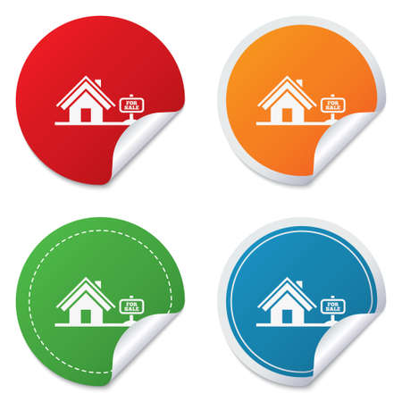 house for sale: Home sign icon. House for sale. Broker symbol. Round stickers. Circle labels with shadows. Curved corner. Vector Illustration