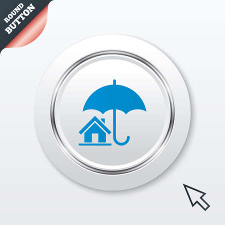 belay: Home insurance sign icon. Real estate insurance symbol. White button with metallic line. Modern UI website button with mouse cursor pointer. Vector