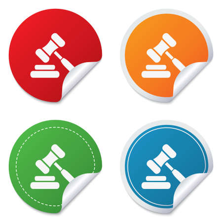 auction gavel: Auction hammer icon. Law judge gavel symbol. Round stickers. Circle labels with shadows. Curved corner.  Illustration