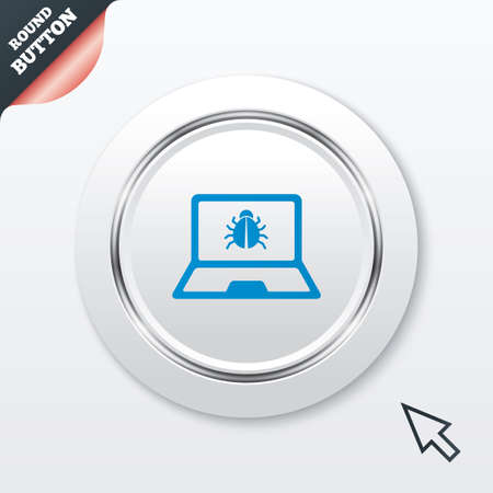 ultrabook: Laptop virus sign icon. Notebook software bug symbol. White button with metallic line. Modern UI website button with mouse cursor pointer.