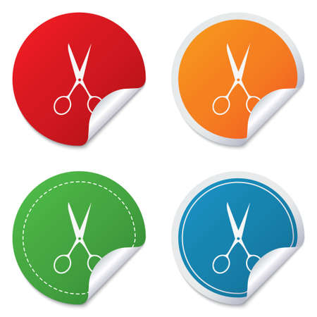 disclosed: Scissors hairdresser sign icon. Tailor symbol. Round stickers. Circle labels with shadows. Curved corner.