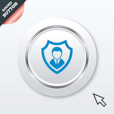 Security agency sign icon. Shield protection symbol. White button with metallic line. Modern UI website button with mouse cursor pointer. Vector