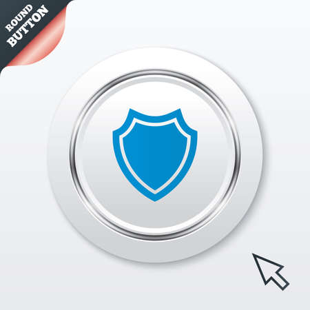 security token: Shield sign icon. Protection symbol. White button with metallic line. Modern UI website button with mouse cursor pointer.  Illustration
