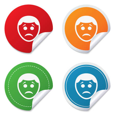 gloom: Sad face sign icon. Sadness depression chat symbol. Round stickers. Circle labels with shadows. Curved corner.