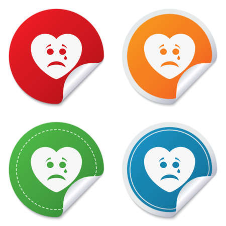 Sad heart face with tear sign icon. Crying chat symbol. Round stickers. Circle labels with shadows. Curved corner. Vector