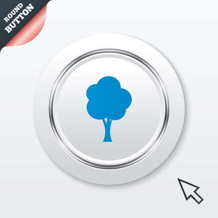 coma: Tree sign icon. Forest symbol. White button with metallic line. Modern UI website button with mouse cursor pointer.  Illustration