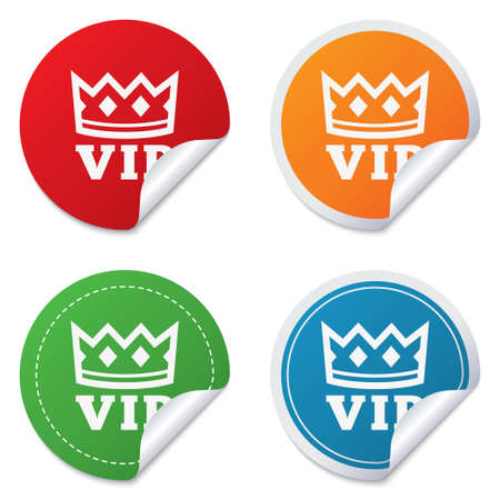 very important person: Vip sign icon. Membership symbol. Very important person. Round stickers. Circle labels with shadows. Curved corner.  Illustration