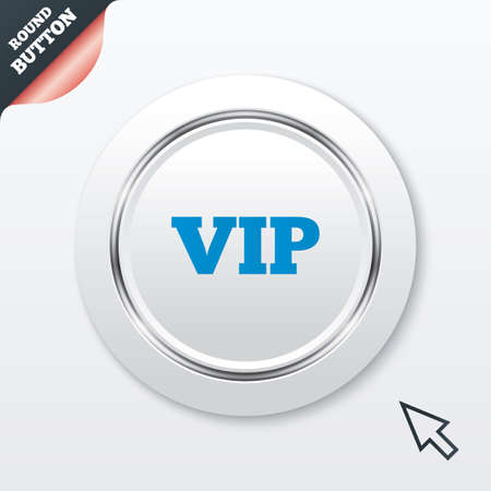 very important person: Vip sign icon. Membership symbol. Very important person. White button with metallic line. Modern UI website button with mouse cursor pointer